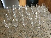 Crystal Water / Drink Goblets With Gold Rim 23 Pieces 13 Large 10 Smaller.