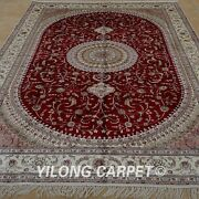 Yilong 6and039x9and039 Handmade Silk Area Rug Traditional Indoor Oriental Red Carpet 1205