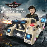 12v Kids Ride On Electric Car Rc Toy 2.4g Crawler Military Truck W/ Battle Mode