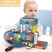 Automatic Lift Car Wash Set Toy With Color Changing Alloy Cars Musical Lighting