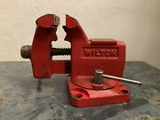Vintage Wilton Bench Vise Antique 3.5 Jaws Red W/ Swivel Base Made In Usa