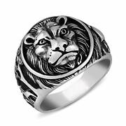 Mens Silver Ring In 925 Sterling Turkish Handmade Jewelry Men's Rings Lion Theme