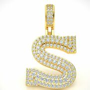 2.10ct Natural Diamond 1.5 3d Varsity Initial Letter And039sand039 Pendant 14k Gold