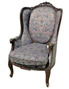 Tall Back Carved Walnut French Louis Xvi Bergere Wing Chair Circa 1920