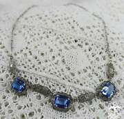 1920s Vintage Sterling Silver And Faceted Rectangle Blue Crystal Art Deco Necklace