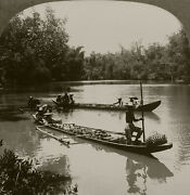 Keystone Stereoview Dugout W/outrigger, The Philippines Rare Boats Set 1930's 6