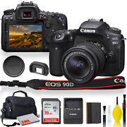 Canon Eos 90d Dslr Camera With 18-55mm Lens, Padded Case, Memory Card, And More