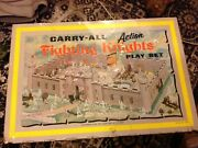 1968 Louis Marx Tin Litho Carry All Action Fighting Knights Playset 4635, Used