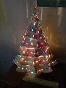Vintage Ceramic Christmas White Tree 26andrdquo Tall And 23andrdquo Wide