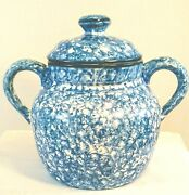 Andnbspvintage Stangl Large Bean Pot Cookie Jar Town And Country Blue And White Nice