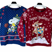 Peanuts And Rudolph The Red Nosed Reindeer Womens Christmas Sweater Sz Xl Lot Of 2
