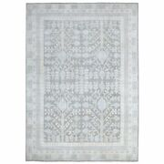 9and039x12and039 Hand Knotted Silver Wash Peshawar Samarkand Design Soft Wool Rug G67682