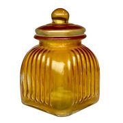 Vintage Farmhouse Lacquered Amber Glass Candy Store Apothecary Jar W/ Lid