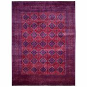 9and03910x13and039 Deep Red With Navy Blue Afghan Khamyab Hand Knotted Wool Rug G67705