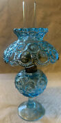 Scarce Light Blue Lg Wright Mini Oil Lamp W/chimney Perfect All Pieces Intact