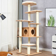 Wood Multi-layer Platform Cat Tree With Scratch Resistant Rope