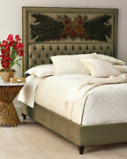 Haute House King Size Bed With Peacock And Sage Headboard