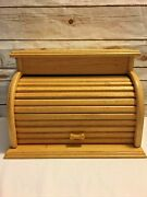 Large Vintage Wooden Roll Top Bread Box Natural Blonde Wood Handmade 17x12x12