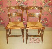 Ethan Allen Button Back Hitchcock 2 Chairs Hand Decorated On Maple 14 6111