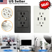 Home Dual Usb Wall Outlet Charger Port Socket With 15a Electrical Receptacles Us