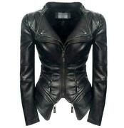 Womens Sexy Motorcycle Biker Coat Gothic Punk Leather Jacket Power Shoulder Top
