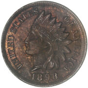 1898 Indian Head Cent About Uncirculated Penny Au
