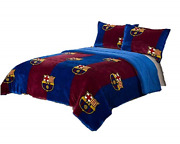 Fcbarcelona 3pcs Sherpa Set Queen Size Blanket Set With 2 Pillow Shams