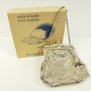 Vintage Whiting And Davis Co. Silver Tone Mesh Bag With Chain W/ Original Box