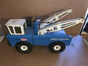 Vintage 1970's Mighty Tonka 24 Hour Service Wrecker Truck- Blue