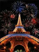Fireworks Paris France Eiffel Tower Paint By Numbers Canvas Wall Art Painting