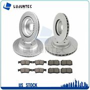 Front Rear Discs Brake Rotor And Ceramic Pads For M-benz E550 2007-09 Drill Slot