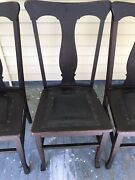 Antique Oak Chairs Dining Leather Seat Chairs