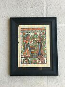 Vintage Rare Egyptian Papyrus Hand Painted Beautifuly Framed