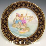 Stunning 19c Sevres France Hand Painted Plate For Spaulding And Co, Chicago-paris