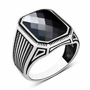 Mens Solitaire Silver Ring 925 Sterling Menand039s Jewelry Black Cubic Zirconia Stone