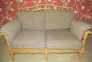 Ethan Allen Wood Framed Upholstered Love Seat Country French Bisque Go With