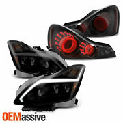 For 08-15 Infiniti G37/q60 Coupe Projector Headlights + 3d Led Tube Tail Lamp