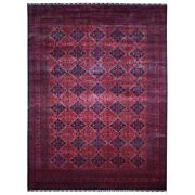 9and0399x13and039 Afghan Khamyab Deep And Saturated Red Hand Knotted Soft Wool Rug G67698