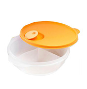 Tupperware Crystalwave Microwave Divided Dish Lunch Large Bowl Bpa-free Plastic