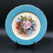 Aynsley Cabbage Rose Hp 8andrdquo Salad Plate Light Blue Border Signed Bailey Ch6120