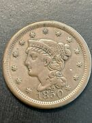 1850 Braided Hair Large Cent Penny -nice Type Coin