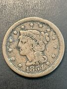 1854 Braided Hair Large Cent -us Type Coin Collectible