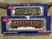 2 Nos Atlas Trainman O Scale Rolling Stock Cars 70 Ton Hopper And Plug Door Box