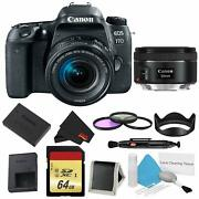 Canon Eos 77d Dslr Camera +18-55mm Lens Bundle W/ 3 Piece Filter And Memory Kit +