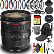 Canon Ef 24-70mm Usm Lens Intl Model Includes Filters Tripod Bag And More