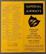 Imperial Airways January 1935 Airline Timetable Egypt Sudan East South Africa