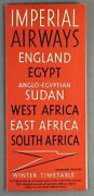 Imperial Airways Usa Edition Winter 1938 Airline Timetable Egypt Sudan Africa