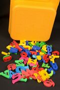 Tupperware Yellow Gold Kid Crayon Box Case Magnetic Alphabet Container