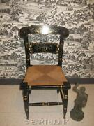 Ethan Allen Black Button Back Chair 14 6011 Gold Hand Decorated Stenciled Usa