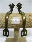 1800and039s Civil War Solid Brass Officers Riding Horse Spurs With Iron Blood Rowells